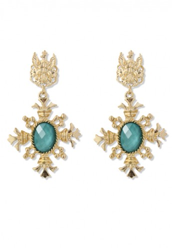 Golden Baroque Turquoise Pendant Earrings - Retro, Indie and Unique Fashion