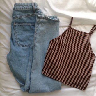 tank top soft brown black stripes cropped