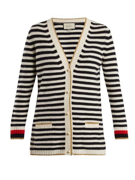 gucci cardigan cardigan wool knit navy white sweater