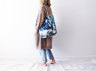 bag tote bag blue clouds