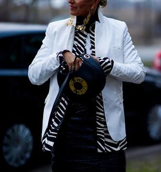 jacket tumblr white blazer blazer bag round bag black bag loewe bag skirt black skirt leather skirt black leather skirt fashion week 2017 streetstyle earrings gold earrings jewels jewelry printed jacket
