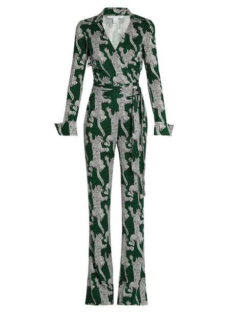 DIANE VON FURSTENBERG Printed jumpsuit in green / print