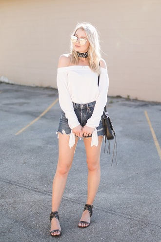 love lenore blogger top shorts shoes bag