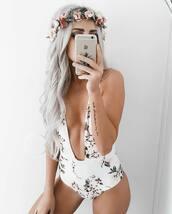 swimwear,tumblr,one piece swimsuit,floral,floral swimwear,hair accessory,flower crown,v neck,plunge v neck,hair,hairstyles,long hair,platinum hair