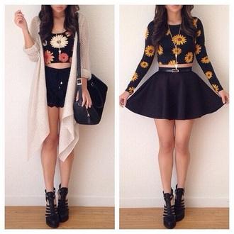 top flower shirt crop tops summer top fashion cardigan shorts skirt