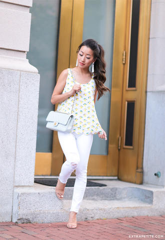 extra petite blogger jeans jewels shoes white jeans yellow top chanel blue bag shoulder bag sandals