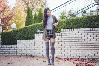 metallic paws blogger grey boots skorts checkered cardigan skirt thigh high boots overtheknee overknee boots suede boots grey