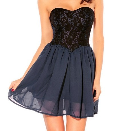 Robe bustier bleue et noire ts by levidedressing