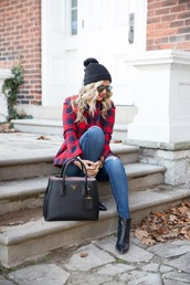 bag,tumblr,black bag,tote bag,prada,prada bag,denim,jeans,blue jeans,ripped jeans,boots,ankle boots,black boots,beanie,pom pom beanie,black beanie,sunglasses,jacket,tartan