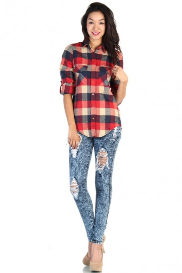 LoveMelrose.com From Harry & Molly | Plaid Button Up Shirt - Red / Navy
