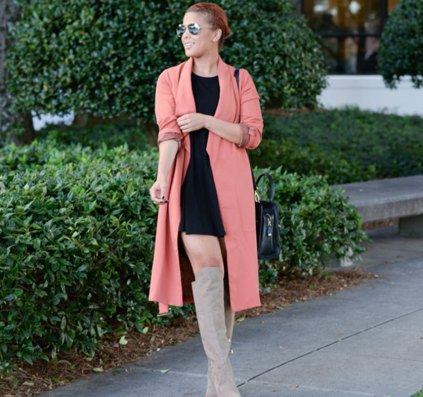 Dress: fashionably lo, blogger, pink coat, knee high boots, coral ...