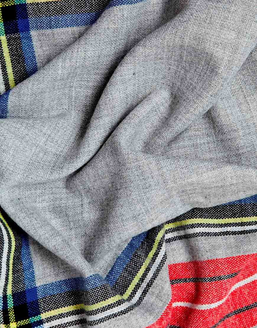 ASOS Scarf In Grey Tartan Check at asos.com