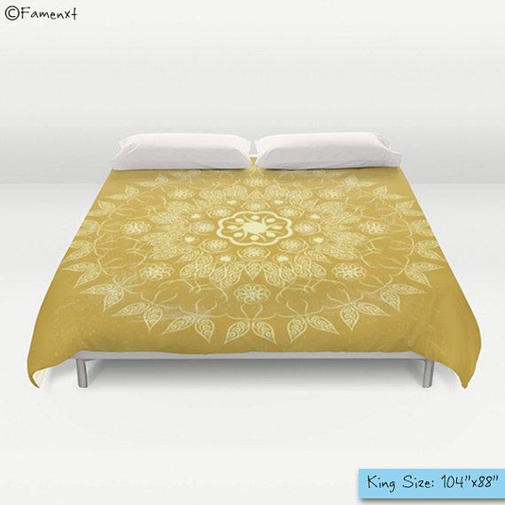 Duvet Cover, Golden Mandala, A Spiritual Design Positive Life, Bedding, Home Interior Decoration