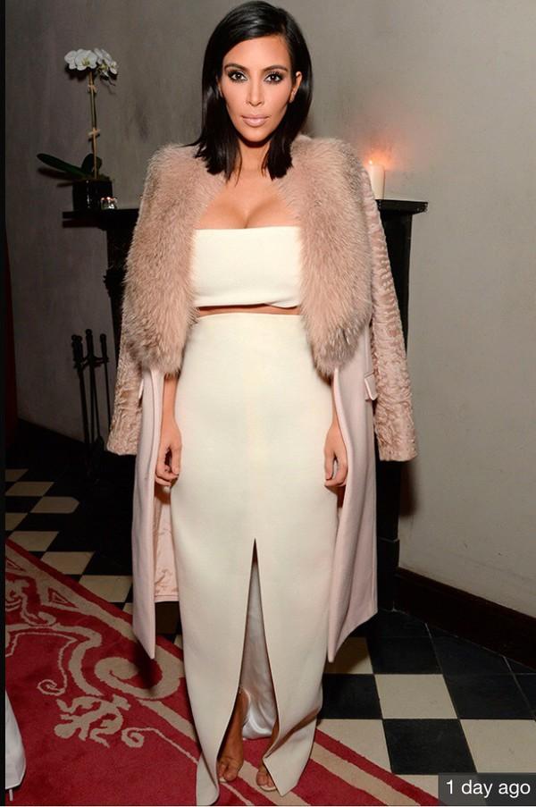 skirt white white skirt slit fur kim kardashian front slit skirt