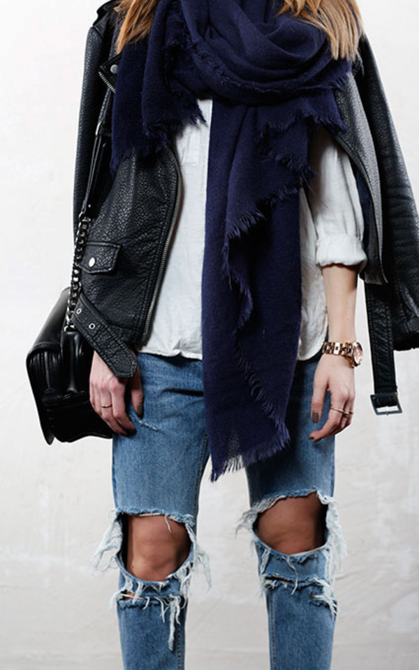 jeans ripped jeans leather jacket ripped jeans fashion scarf jacket plain tee chain bag satchel