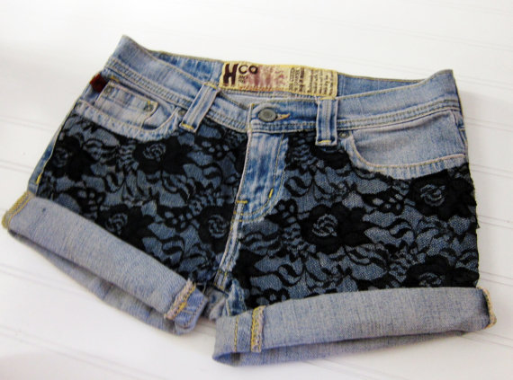 Hipster laced denim shorts. by hipsterapparel on Etsy