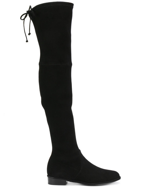 STUART WEITZMAN high women knee high knee high boots leather suede black satin shoes