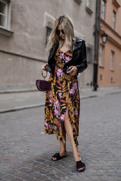 jacket,black jacket,leather jacket,slide shoes,floral dress,bag