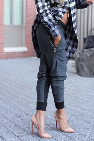 pants grey sweatpants plaid shirt louboutin