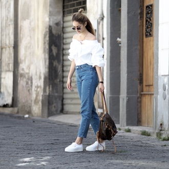 the vogue word blogger top jeans shoes white blouse backpack louis vuitton louis vuitton bag sneakers spring outfits