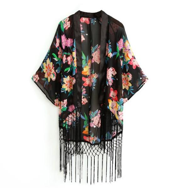 Kimono With Long Fringe Hem