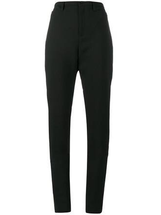 pants women spandex cotton black wool