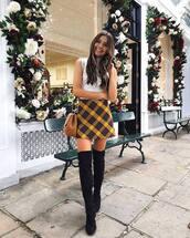 bag,mini bag,shoulder bag,mini skirt,checkered,sleeveless turtleneck sweater,thigh high boots