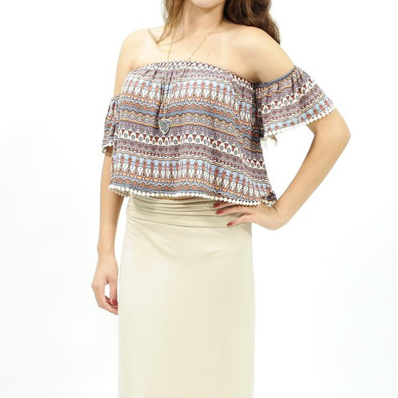 off shoulder crop top off the shoulder top tribal pattern tube top tube tops tube