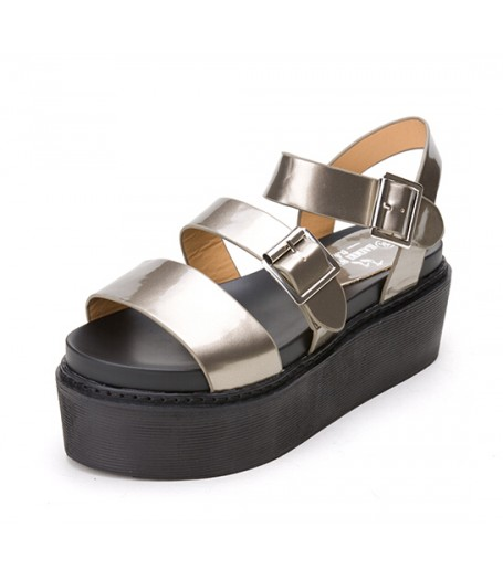 Gold Strappy Buckle Chunky Flatform Sandals