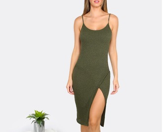 dress girl girly girly wishlist bodycon bodycon dress midi midi dress slit slit dress cute knit sleeveless sleeveless dress olive green