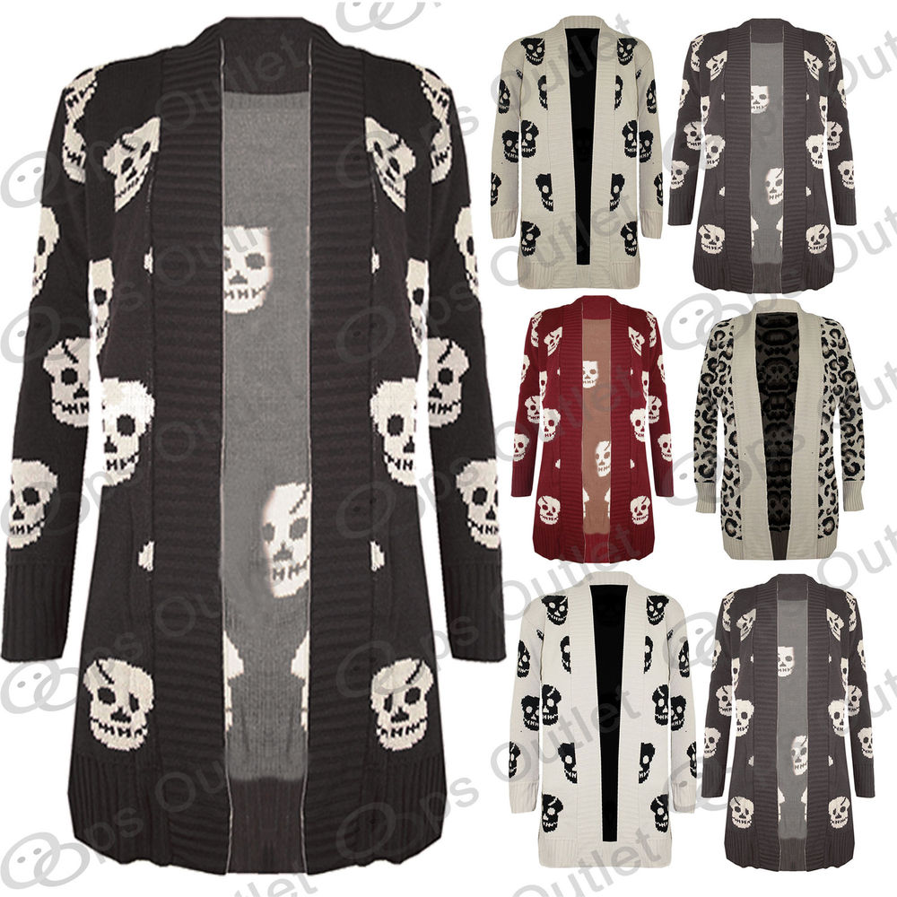 New Ladies Front Open Skull Womens Waterfall Long Sweater Knitted Cardigan Top | eBay