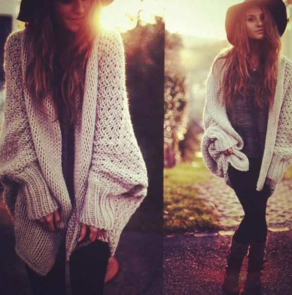 sweater cardigan oversized cardigan oversized knitted cardigan knitwear knitted sweater oversized sweater jacket winter outfits thick knitted fall sweater fall outfits hat shirt shoes pants boots leggings nude