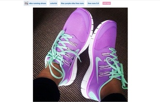 shoes lilac nike free run 5.0 mint light purple