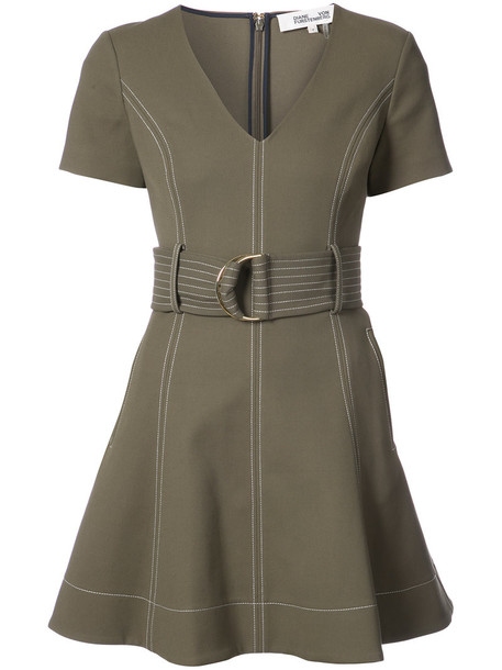 Dvf Diane Von Furstenberg dress women spandex cotton green