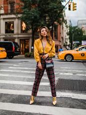 not jess fashion,blogger,sweater,pants,bag,shoes,gold boots,yellow sweater,plaid pants,fall outfits
