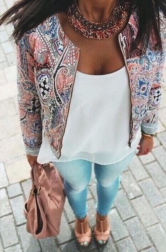 jacket white red blue coat flowers baseball jacket