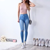 jeans,blue,blue jeans,pink,knitwear,knitted crop tops,purple,crop tops,sneakers,outfit,outfit idea,cute,cute outfits,light pink,ripped jeans,halter top,cropped,skinny jeans,sleeveless,sleeveless top,top,pants,high waisted jeans,high waisted,knitted crop top,pink crop top,halter crop top,white sneakers