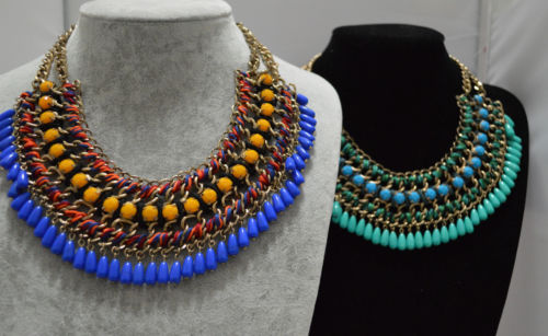 New Design Lady Bib Statement Necklace Acrylic Beads String Handmade Collar Hot | eBay