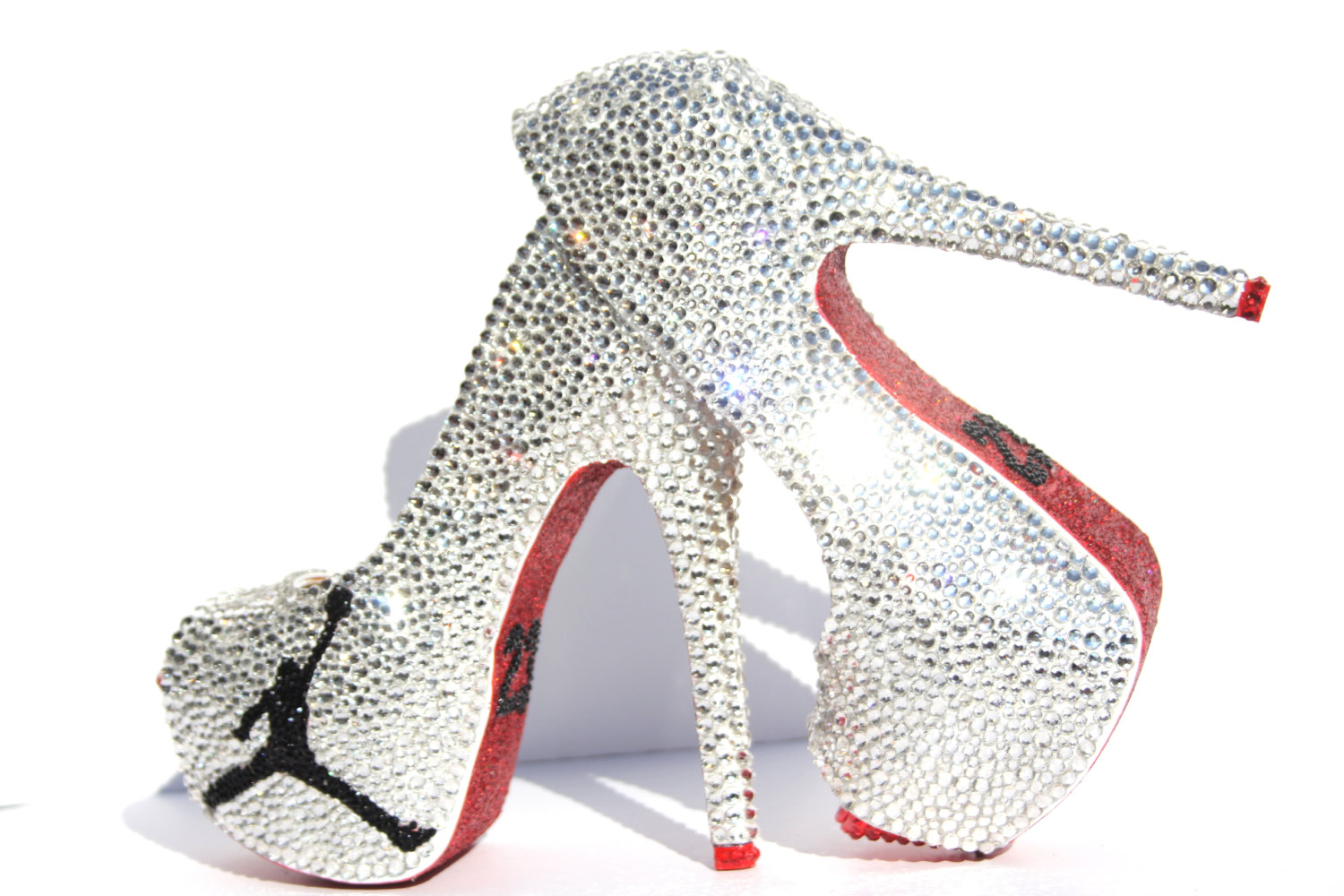 Jordan 23 High Heels covered in Swarovski Crystals with Red