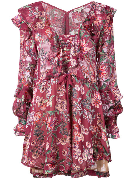 dress print dress women floral print silk purple pink