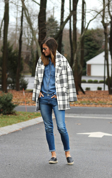 to be bright blogger coat jeans denim shirt