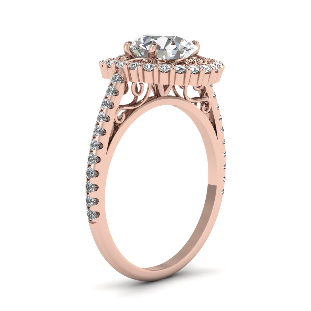 Round Cut Diamond Halo Ring With White Diamonds In 14k Rose Gold | Pristine Halo Ring | Fascinating Diamonds