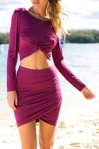 dress pink fashion purple magenta summer long sleeves style crop tops skirt zaful