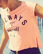shirt,melon,sadie robertson,pink,quote on it