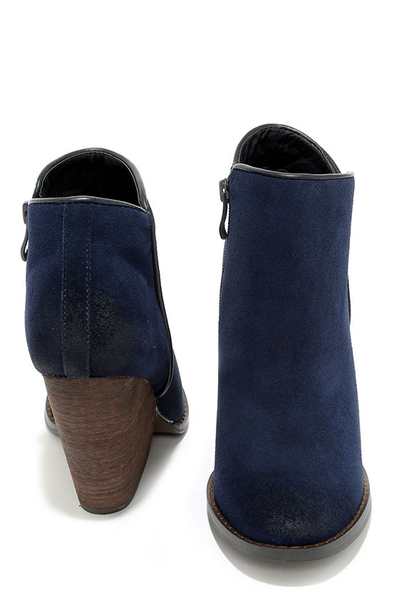 892d810ef4c Very Volatile Whitby Navy Suede Leather Wedge Booties