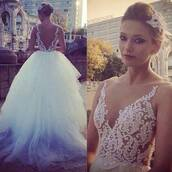 dress,prom,wedding,white,lace,beautiful,blue,ball,formal,evening outfits,white dress,wedding dress,back out,lace wedding dress,appliqued dreses,low back bridal gowns 2015,ball gown summer wedding dresses,v neck women fashion dresses,backless dress,v neck dress,ball gown wedding dresses,2015 wedding dresses,tulle wedding dress