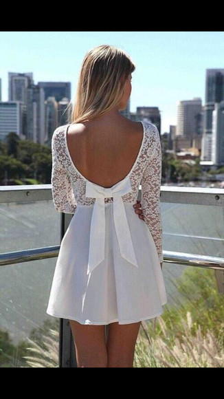 white dress lace dress backless dress Bow Back Dress short dress sundress bow dress