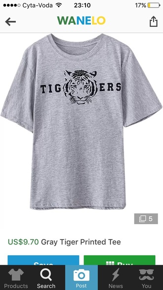 t-shirt grey t-shirt tiger