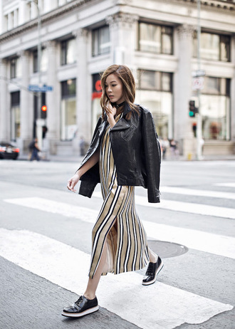 le fashion image blogger dress shoes leather jacket long dress slit dress choker necklace