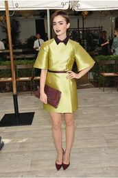 dress,yellow dress,mini dress,lily collins,collared dress,pumps,lemongrass